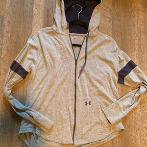 Gray and blue Under Armor zip up